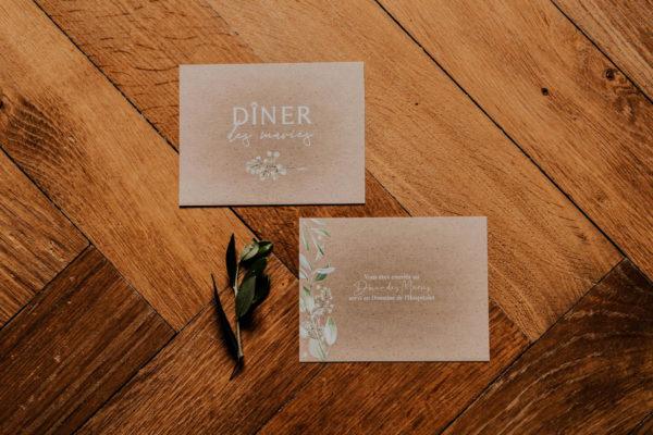 Dîner mariage olivier nature blanc vert kraft champêtre