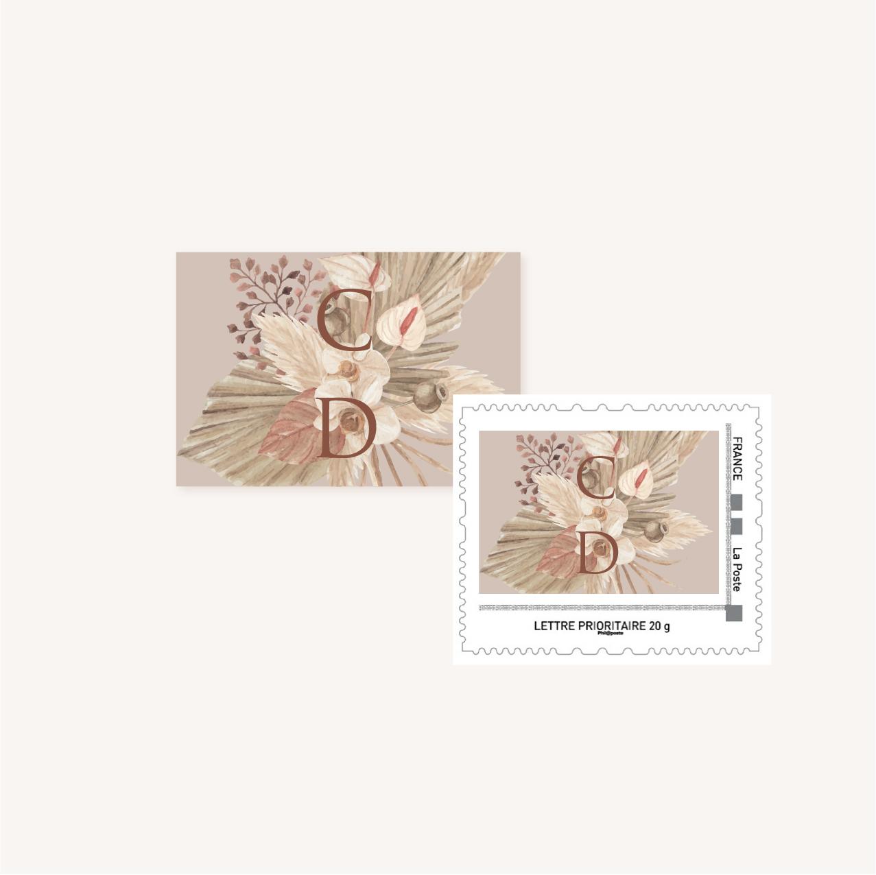 Timbre personnalisé pampa bohème boho boho chic Fleurs séchées floral mariage ocre terracotta