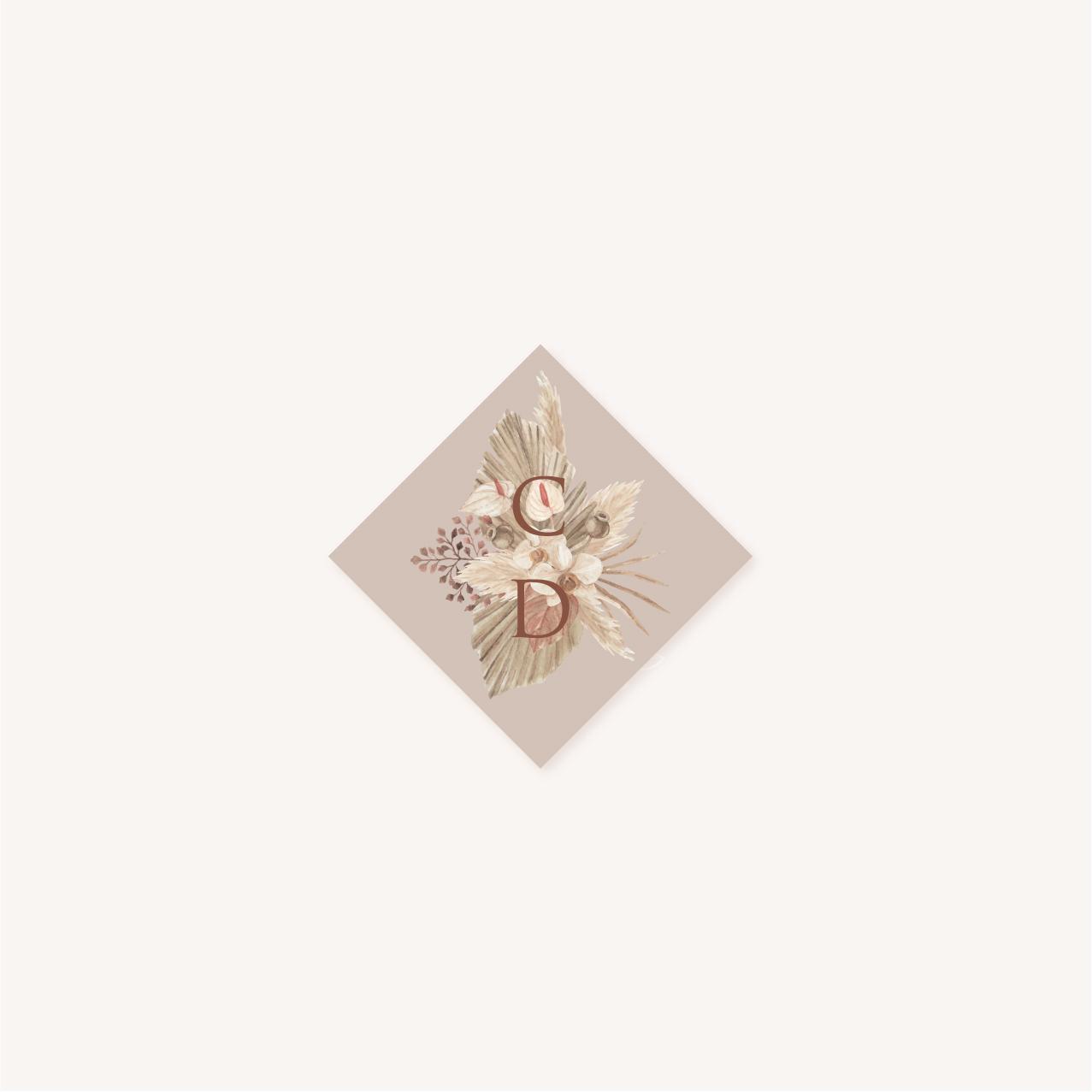 Étiquette adhésive pampa bohème boho boho chic Fleurs séchées floral mariage ocre terracotta