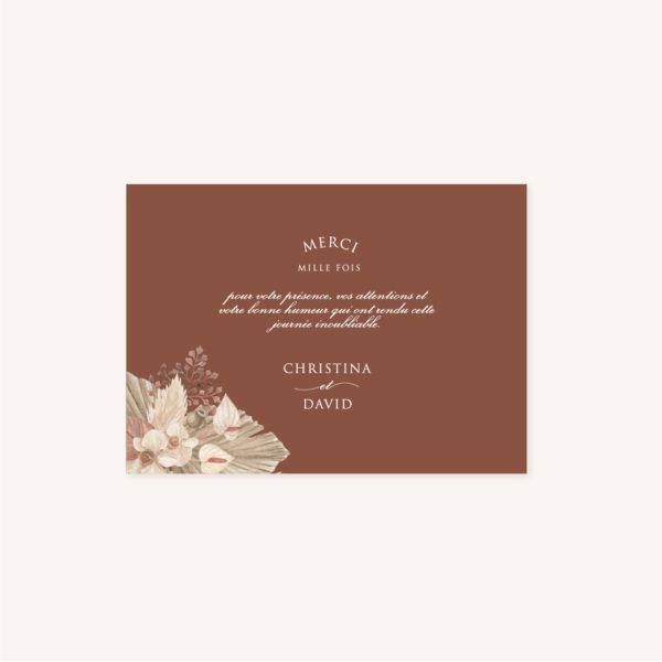 Remerciements pampa bohème boho boho chic Fleurs séchées floral mariage ocre terracotta