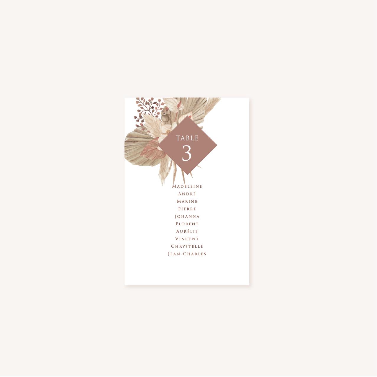Plan de table pampa bohème boho boho chic Fleurs séchées floral mariage ocre terracotta