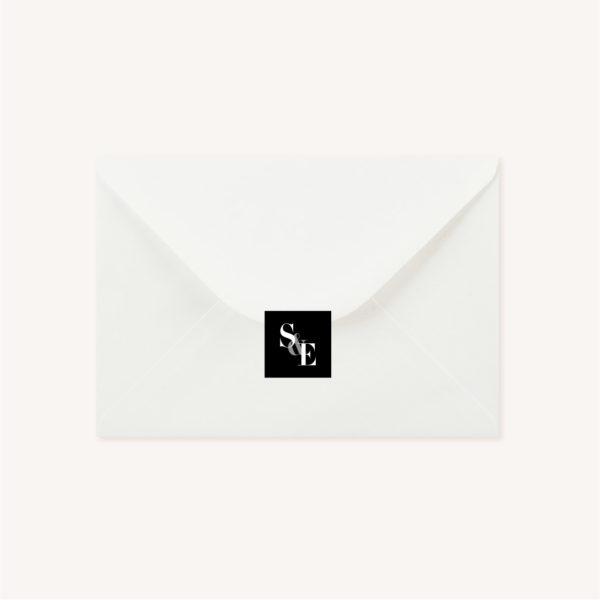 Étiquette adhésive black and white noir et blanc moderne lettering innovant graphique