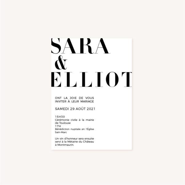 Faire-part black and white noir et blanc moderne lettering innovant graphique