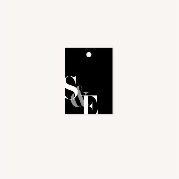 Étiquette papier black and white noir et blanc moderne lettering innovant graphique