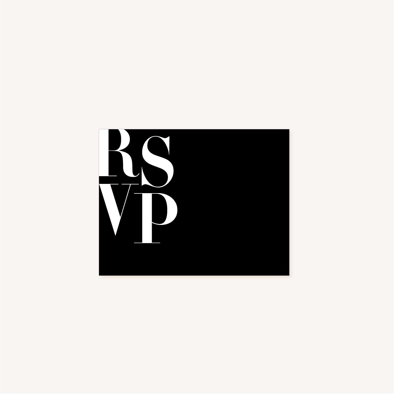RSVP black and white noir et blanc moderne lettering innovant graphique
