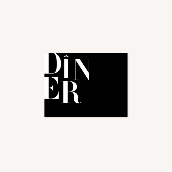 Dîner black and white noir et blanc moderne lettering innovant graphique