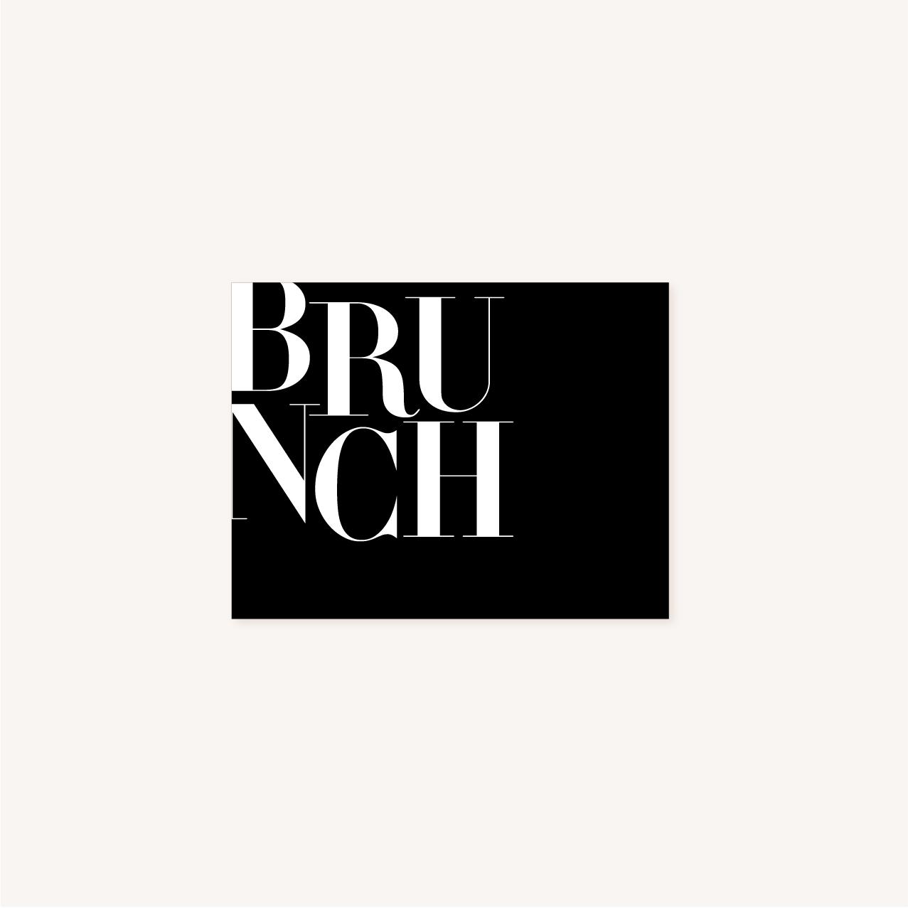Brunch black and white noir et blanc moderne lettering innovant graphique