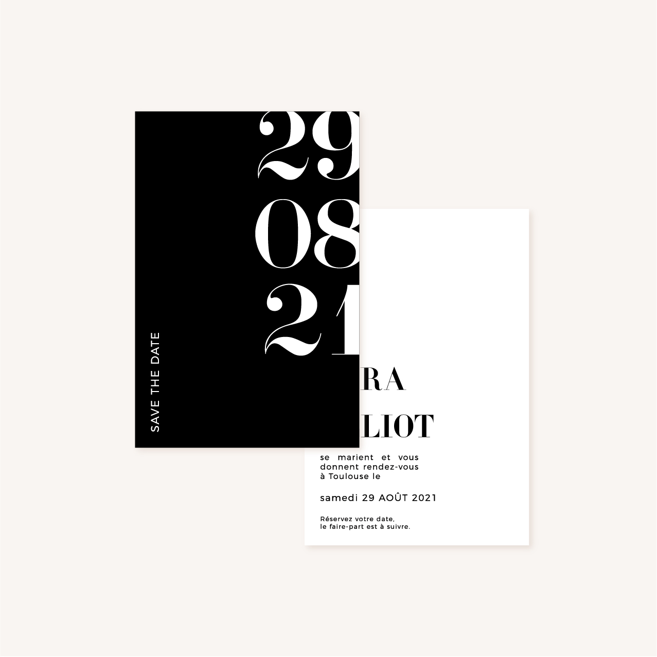 Save the date black and white noir et blanc moderne lettering innovant graphique