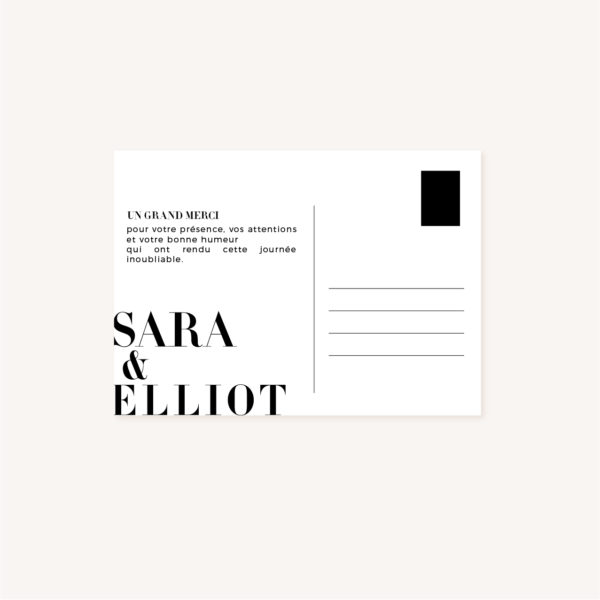 Remerciements black and white noir et blanc moderne lettering innovant graphique