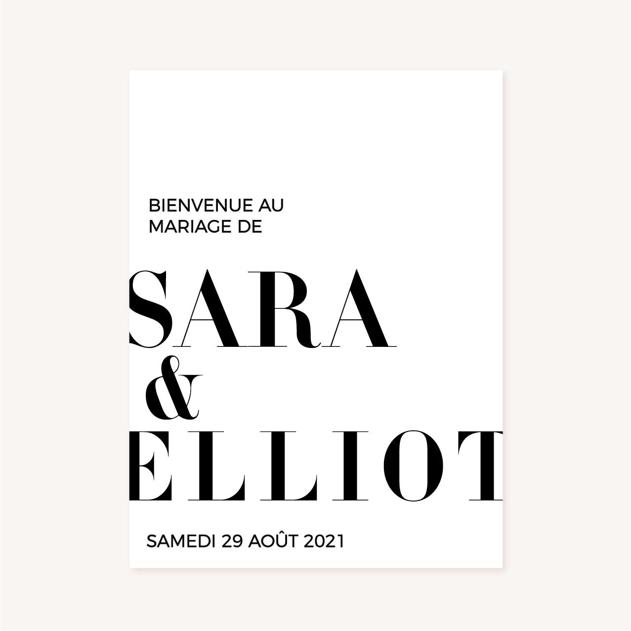 Panneau accueil black and white noir et blanc moderne lettering innovant graphique
