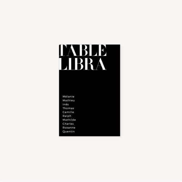 Plan de table black and white noir et blanc moderne lettering innovant graphique