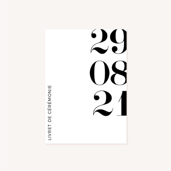 Livret de cérémonie black and white noir et blanc moderne lettering innovant graphique