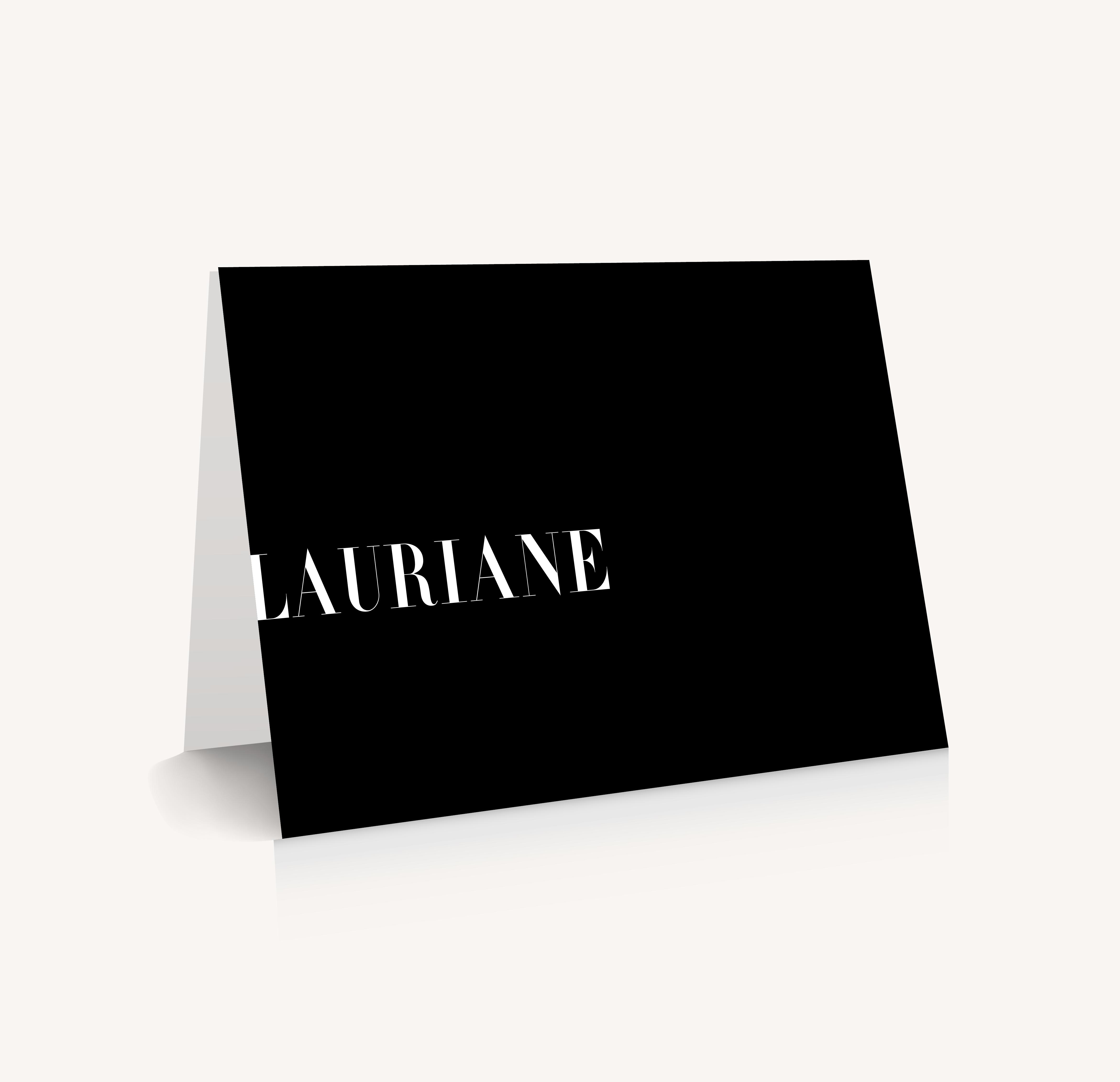 Marque-place black and white noir et blanc moderne lettering innovant graphique