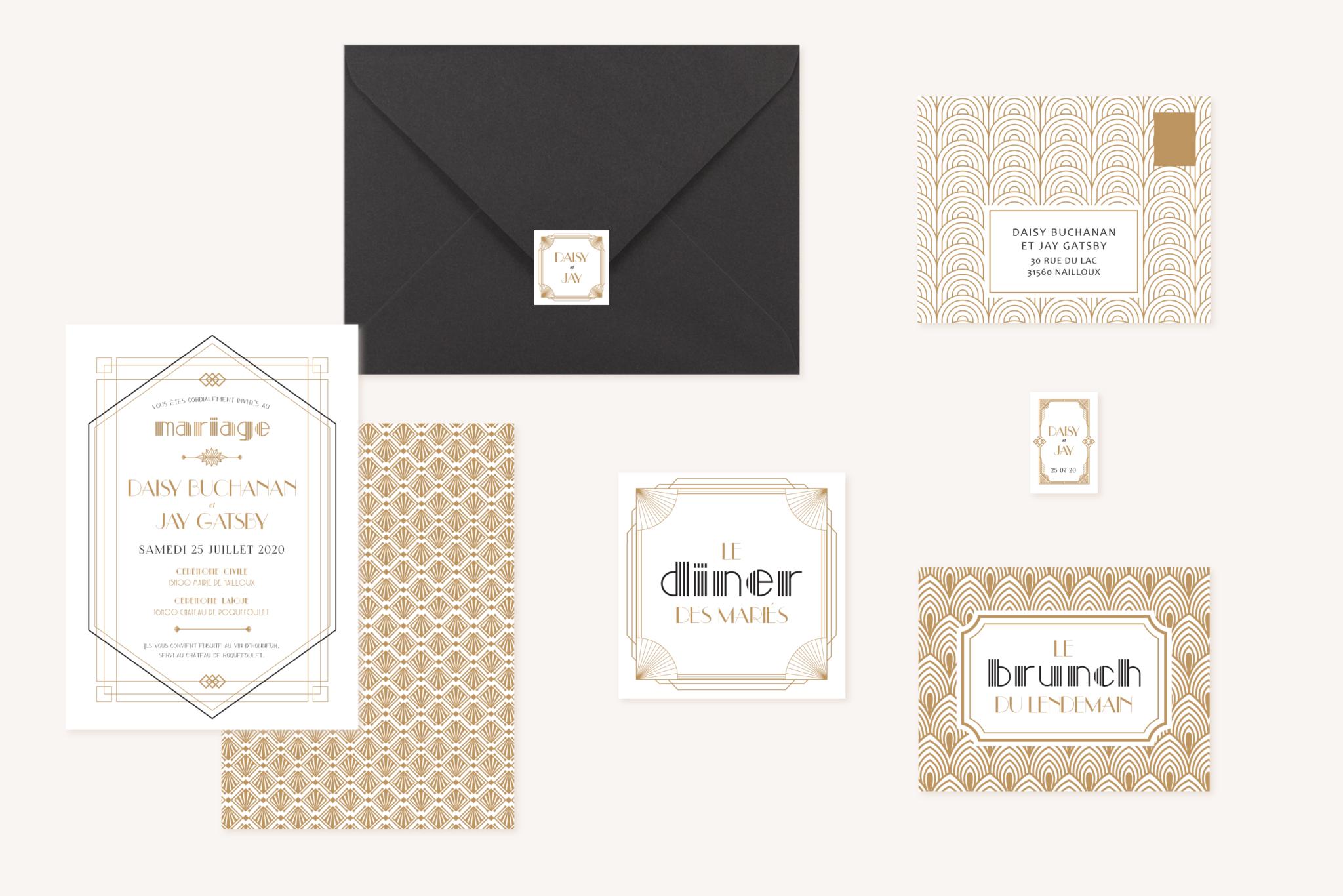 Collection faire-part mariage or blanc noir gatsby art déco
