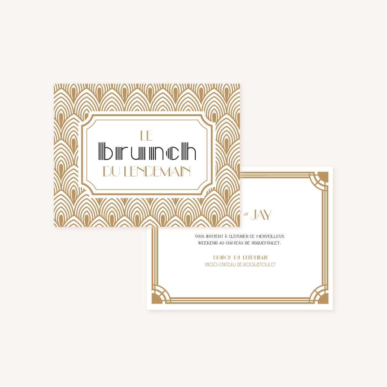 Carton brunch faire-part mariage or blanc noir gatsby art deco