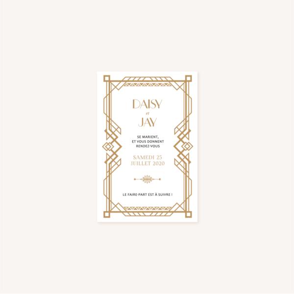 Save the date faire-part mariage or blanc noir gatsby art deco