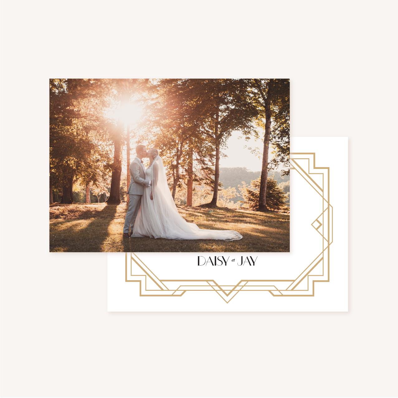 Carte remerciements photo faire-part mariage or blanc noir gatsby art déco
