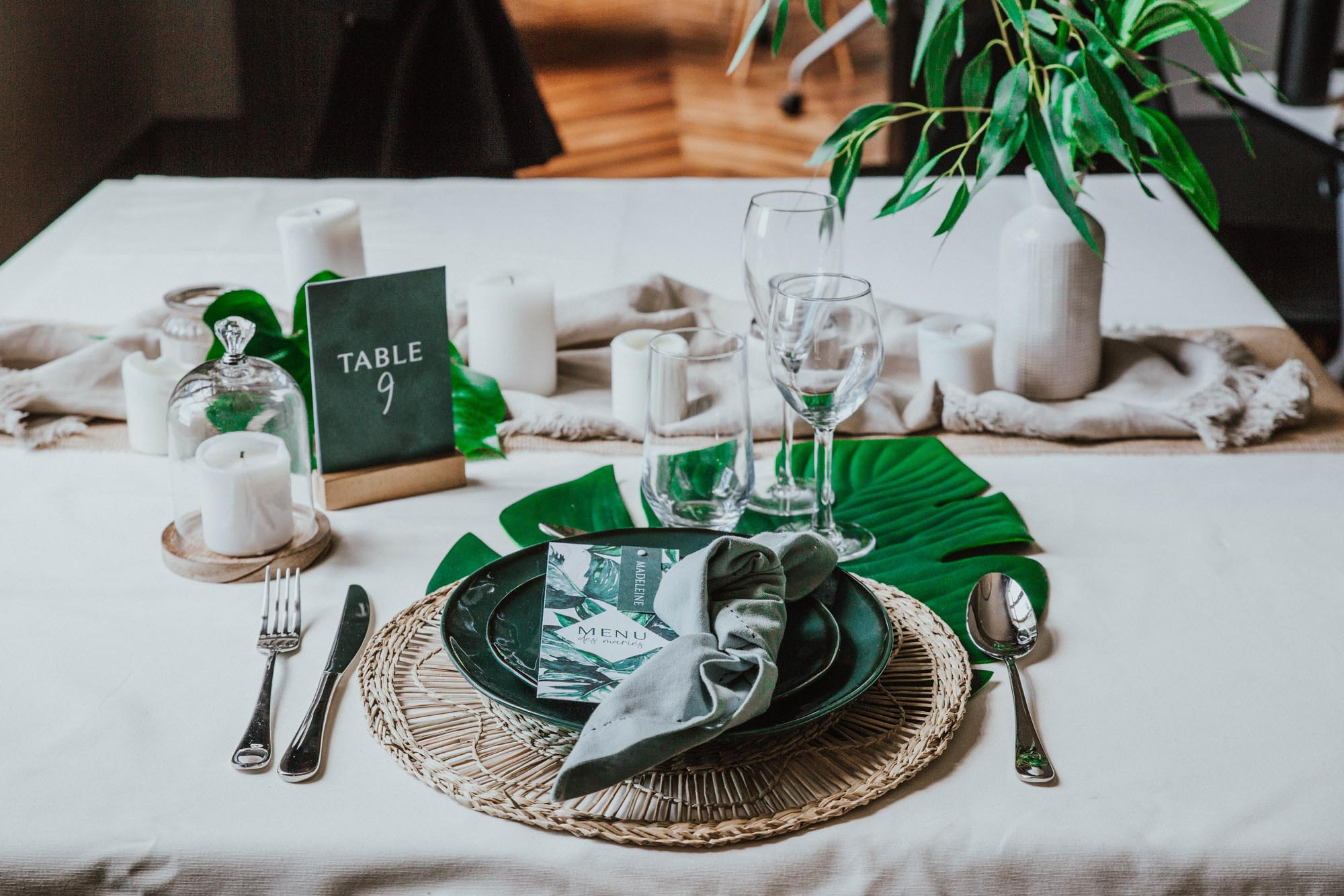 Collection tropique vert et blanc feuillage