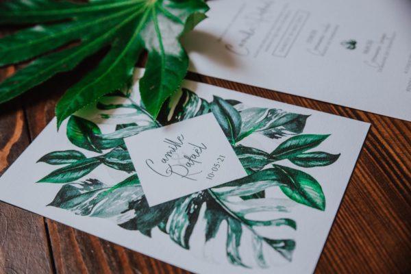 Faire-part mariage tropique feuillage vert et blanc