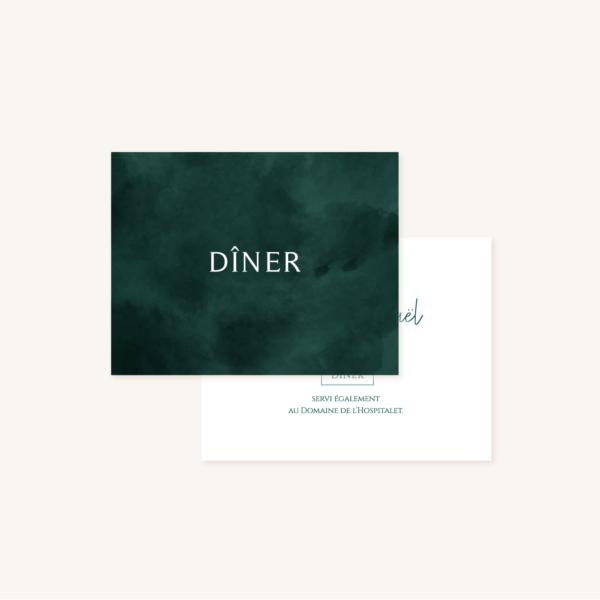 Carton dîner mariage tropique feuillage vert et blanc à l'aquarelle