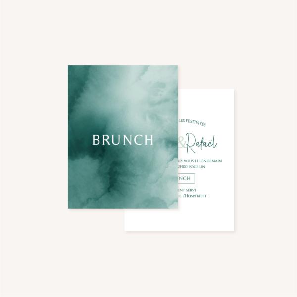 Carton brunch mariage tropique feuillage vert et blanc à l'aquarelle