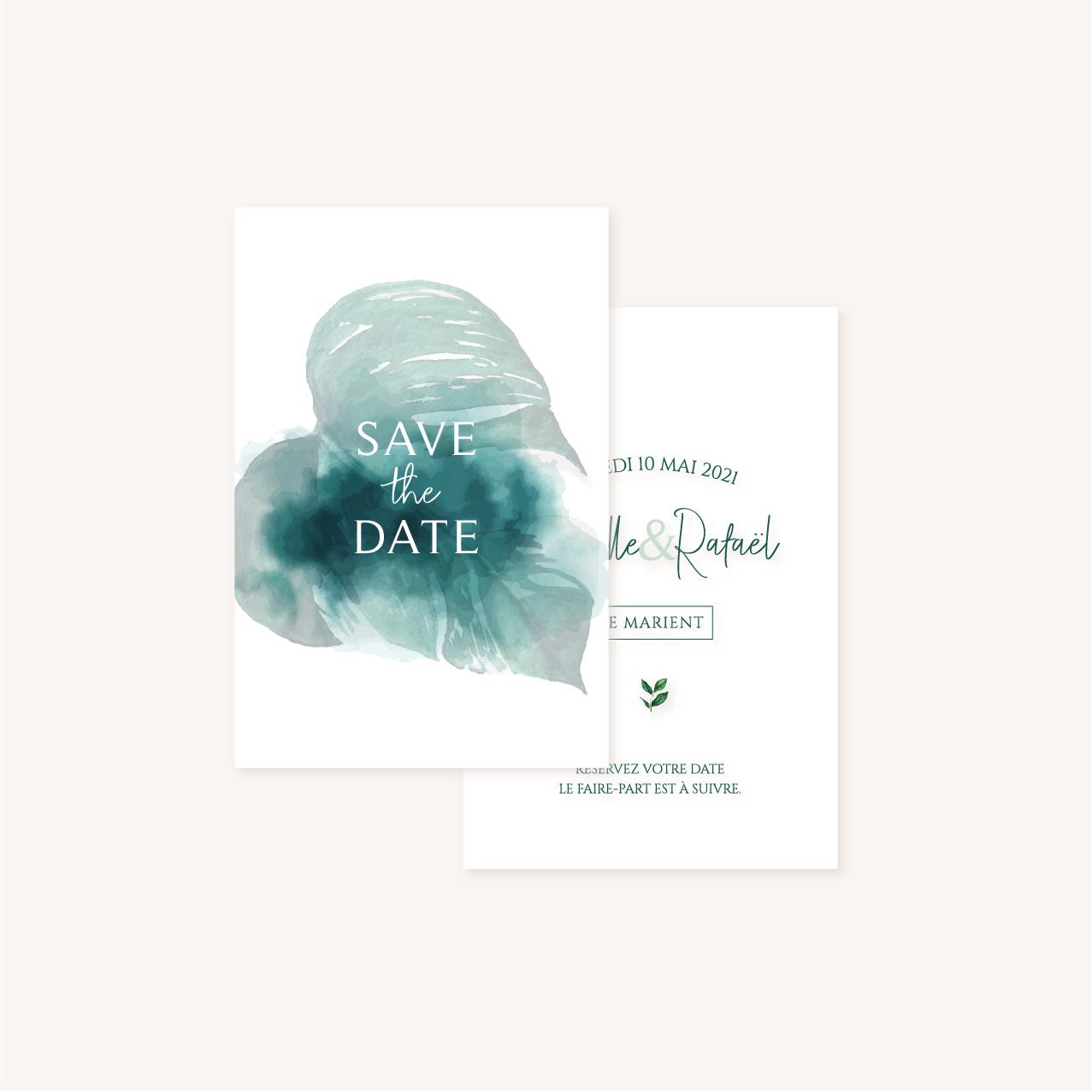 Save the date mariage tropique feuillage vert et blanc à l'aquarelle
