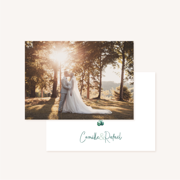 Carton remerciements mariage tropique feuillage vert et blanc à l'aquarelle