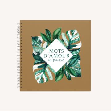 Livre d'or mariage tropique feuillage vert et blanc à l'aquarelle