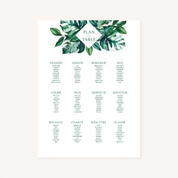 Panneau plan de table mariage tropique feuillage vert et blanc à l'aquarelle
