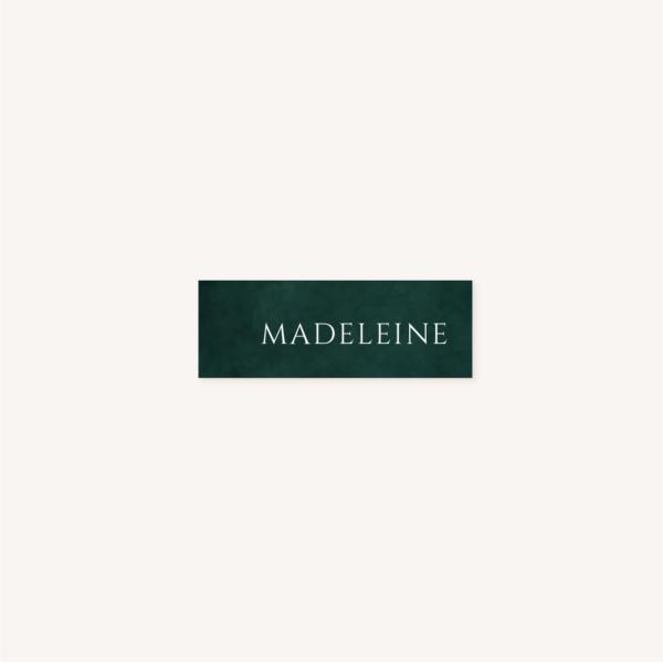 Étiquette nom mariage tropique feuillage vert et blanc à l'aquarelle