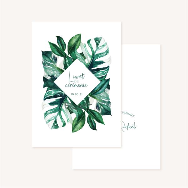 Livret de cérémonie mariage tropique feuillage vert et blanc à l'aquarelle