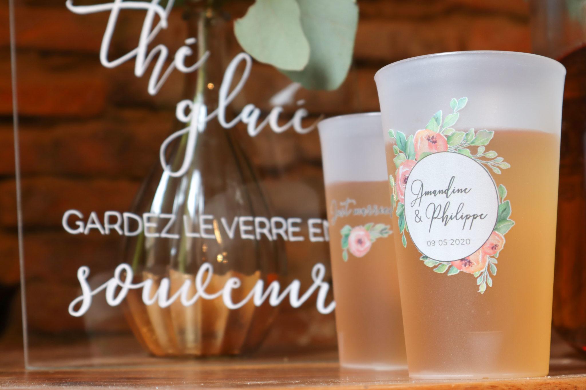 Écocup mariage fleurs floral gobelet réutilisable
