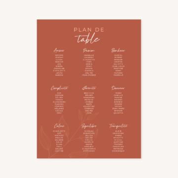 Plan de table mariage terre de sienne terracotta marron nature boheme beige or