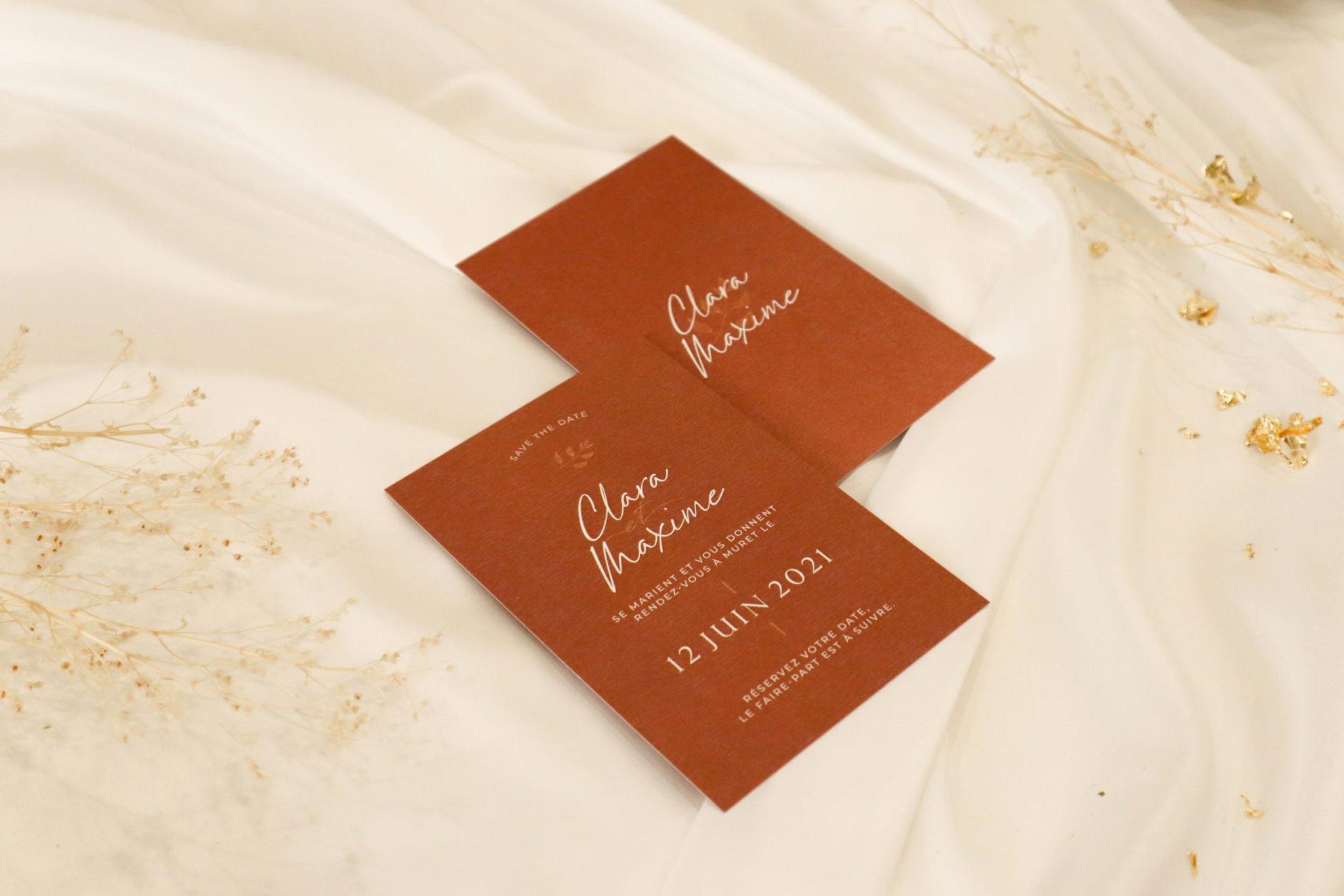 Save the date mariage terre de sienne terracotta marron nature boheme beige or