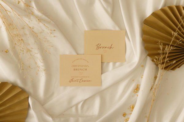 Brunch mariage terre de sienne terracotta marron nature boheme beige or