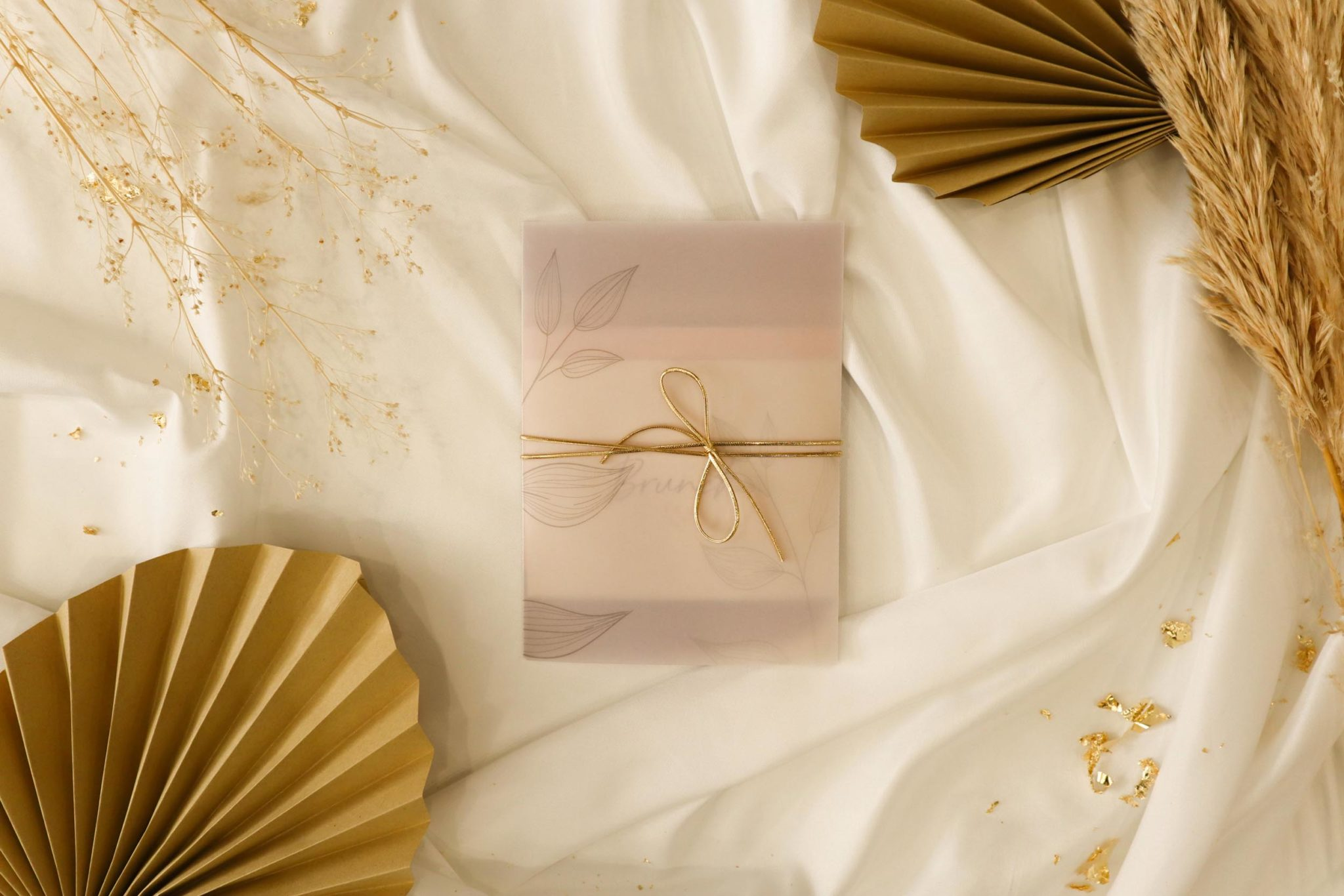 Collection calque faire-part mariage terre de sienne terracotta marron nature boheme beige or