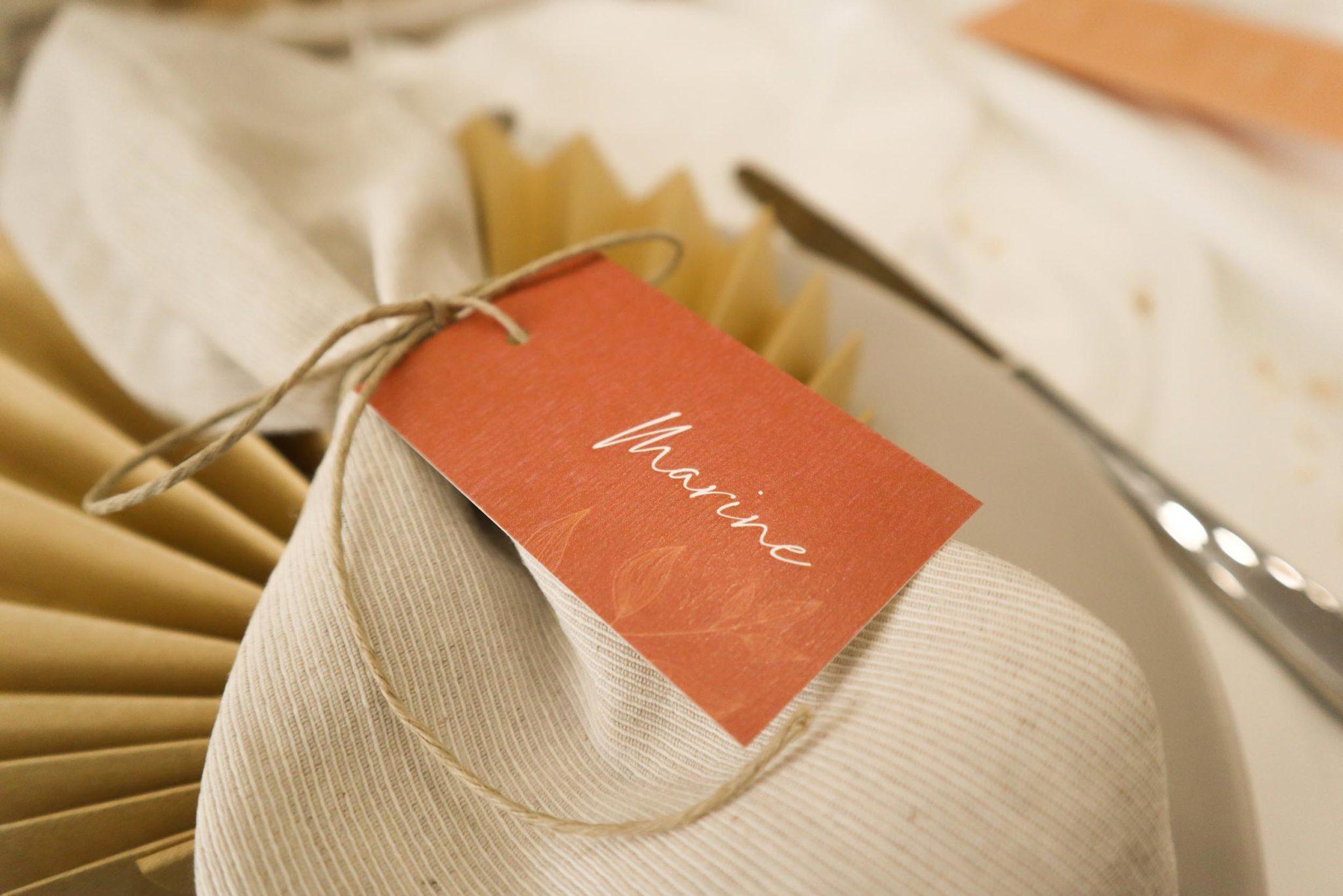 Etiquette nom mariage terre de sienne terracotta marron nature boheme beige or