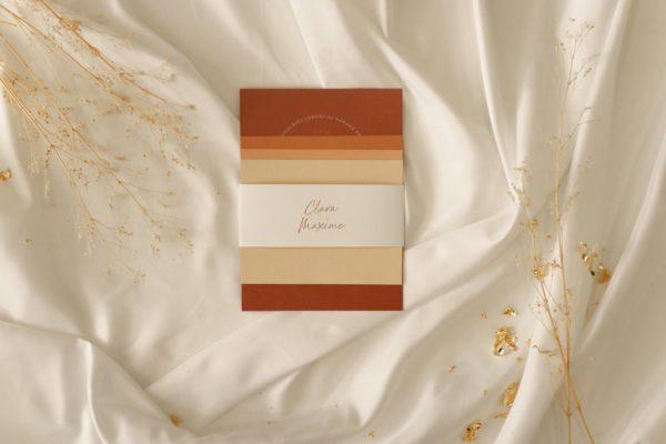 Collection faire-part mariage terre de sienne terracotta marron nature boheme beige or