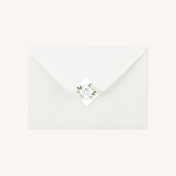 Enveloppe blanche étiquette adhésive personnalisée mariage végétal feuille eucalyptus