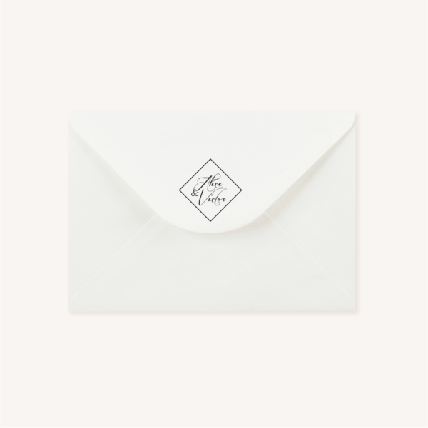 Enveloppe blanche tampon personnalisé mariage végétal feuille eucalyptus