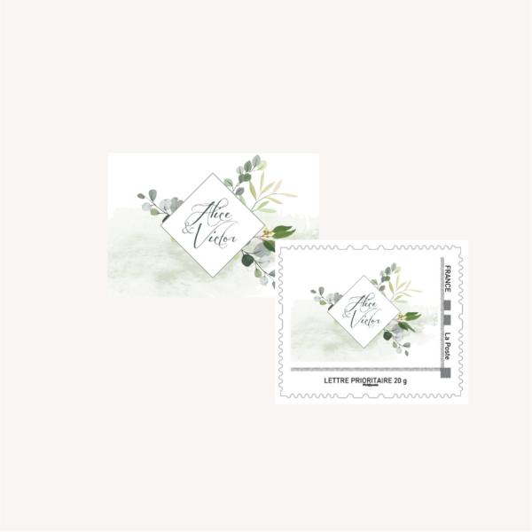 Tampon personnalisé enveloppe mariage végétal feuille eucalyptus