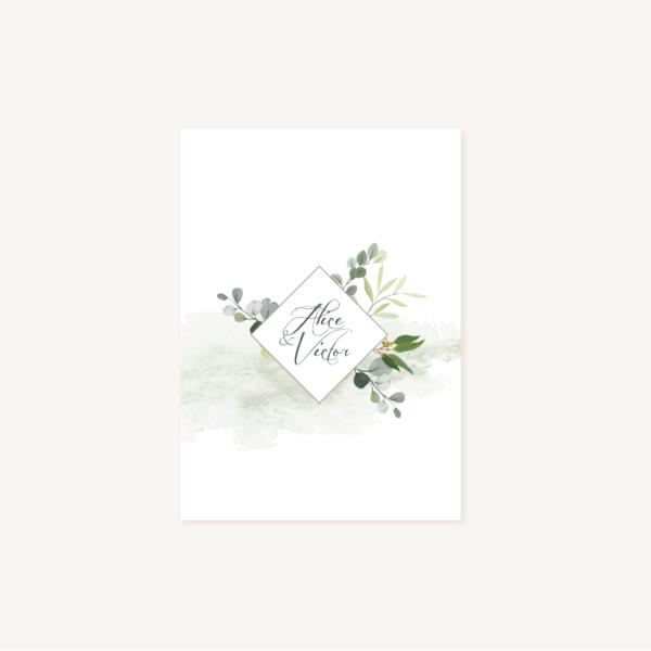 Faire-part recto mariage végétal feuille eucalyptus