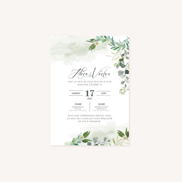 Faire-part verso mariage végétal feuille eucalyptus