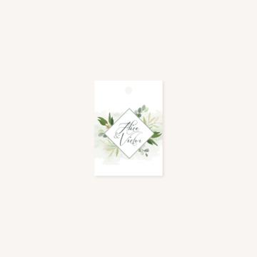 Étiquette personnalisée perforée mariage végétal feuille eucalyptus