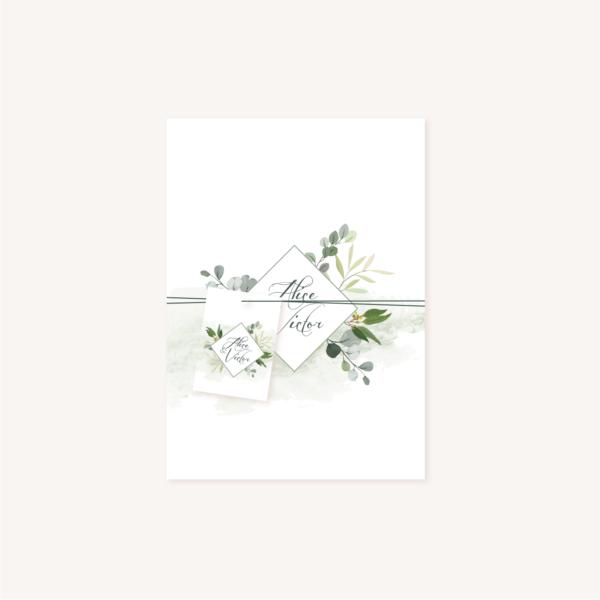 Ensemble faire-part étiquette personnalisée perforée mariage végétal feuille eucalyptus