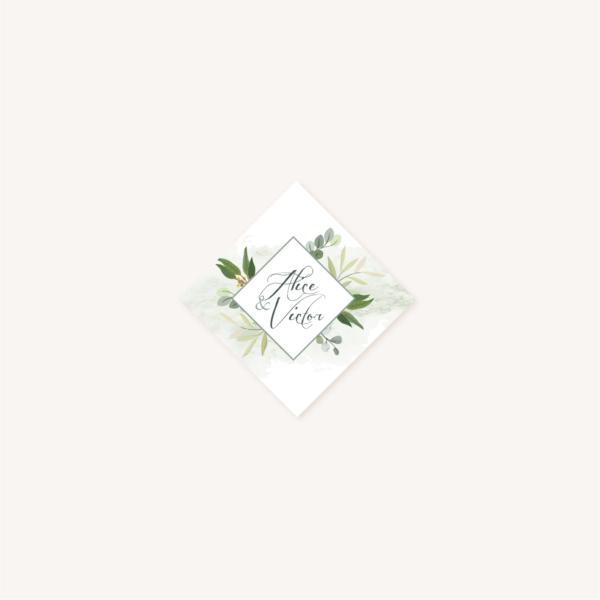Étiquette adhésive enveloppe personnalisable faire-part mariage végétal feuille eucalyptus