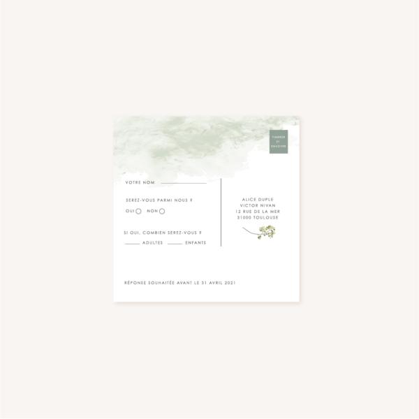 Carton rsvp réponse verso faire-part mariage végétal feuille eucalyptus