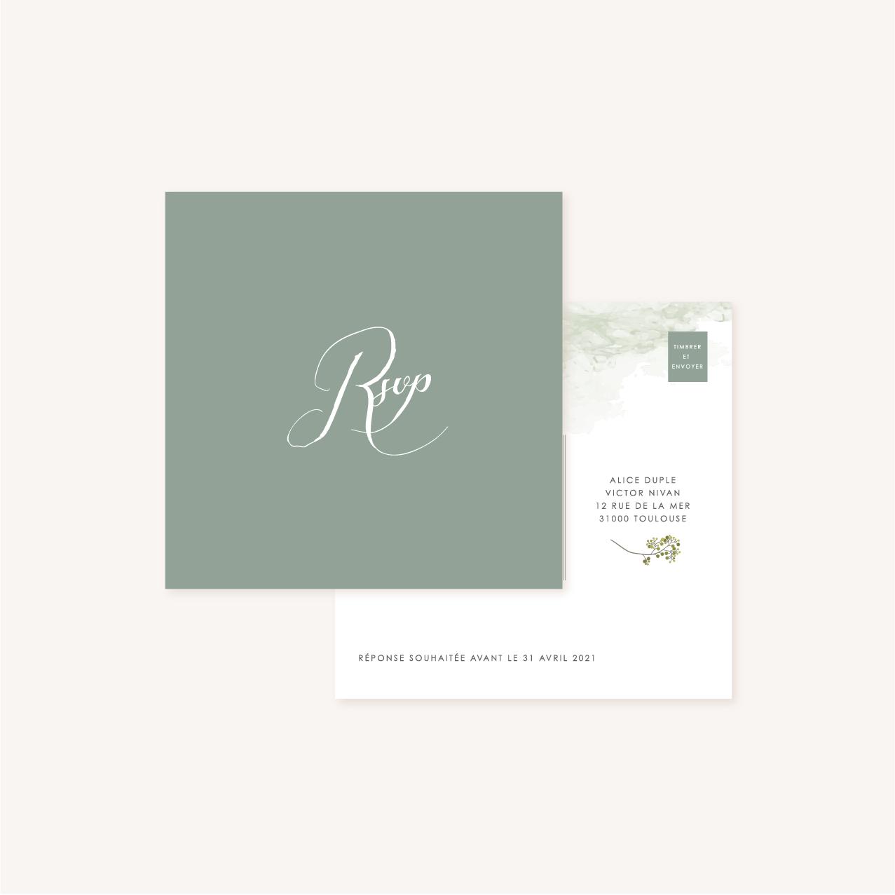 Carton rsvp réponse faire-part mariage végétal feuille eucalyptus