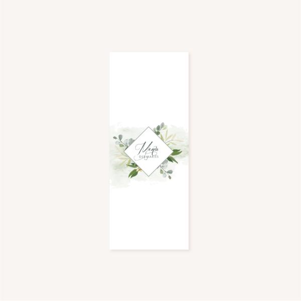 Menu individuelle table mariage blanc végétal feuille eucalyptus