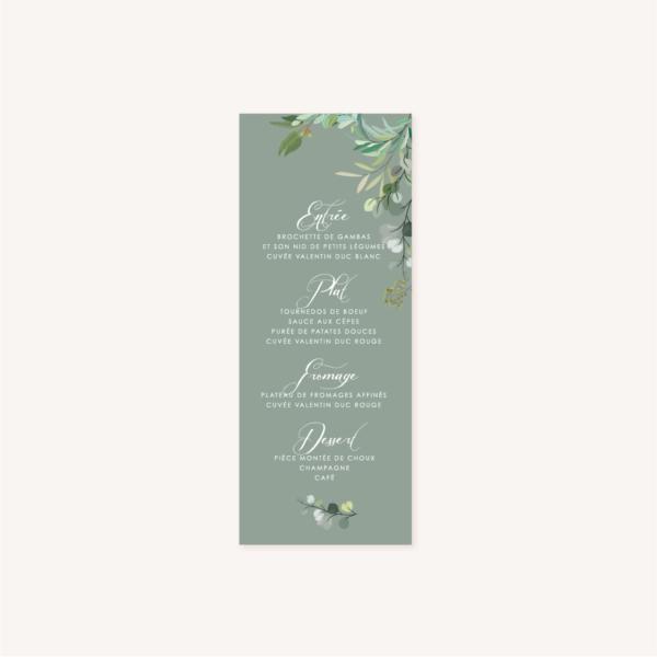 Menu individuelle table mariage vert végétal feuille eucalyptus
